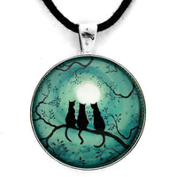 Three Black Cats Under a Full Moon Handmade Pendant