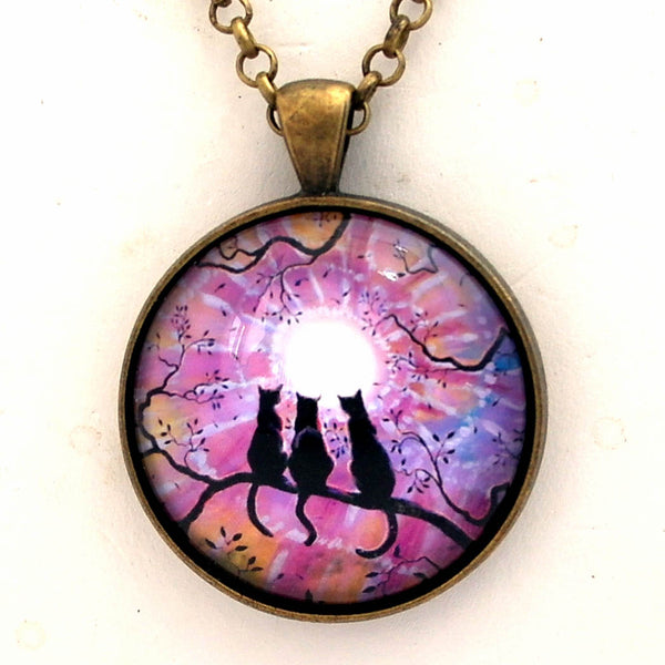Three Cats Black Silhouette in a Pastel Sunset Handmade Pendant Laura Milnor Iverson Official Site