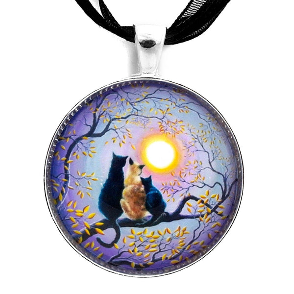 Family Moon Gazing Night Handmade Pendant on Ribbon Necklace