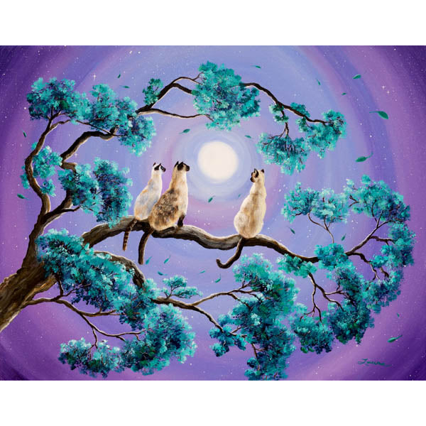 Three Siamese Cats in Moonlight Original Painting