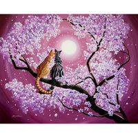 Orange And Gray Tabby Cats In Cherry Blossoms Original Painting