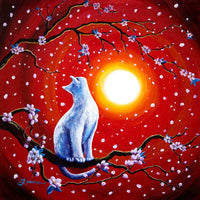 White Cat In Bright Sunset Original Painting Laura Milnor Iverson Official Site