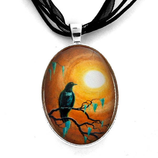 Raven in Dark Autumn Handmade Pendant