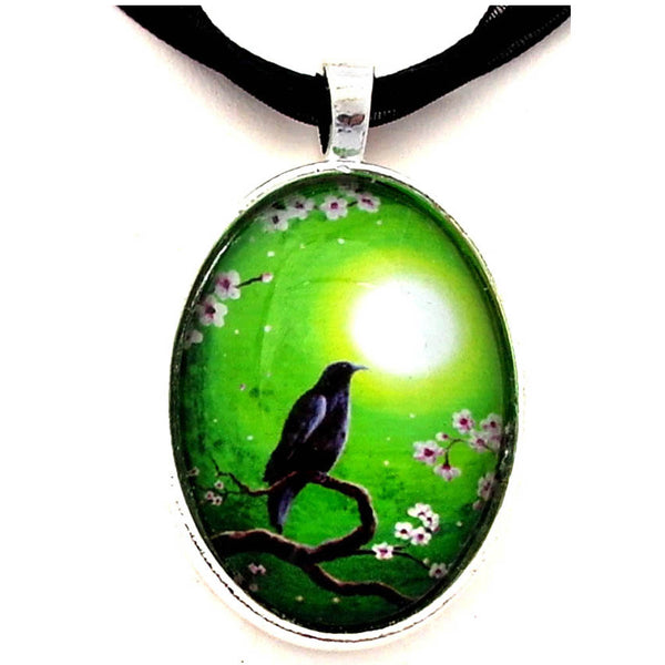 Raven on a Spring Night Handmade Pendant Laura Milnor Iverson Official Site