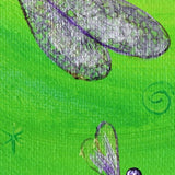 Shimmering Purple Dragonflies in Green Moonlight Original Painting