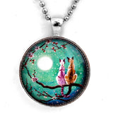 Siamese Cats in Teal Moonlit Cherry Blossoms Handmade Pendant