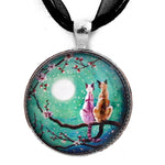 Siamese Cats in Teal Moonlit Cherry Blossoms Handmade Pendant - Laura Milnor Iverson Official Site