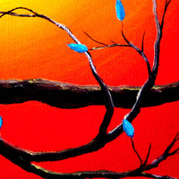Entwining Branches of Turquoise Leaves Original Painting - SOLD - Prints Available