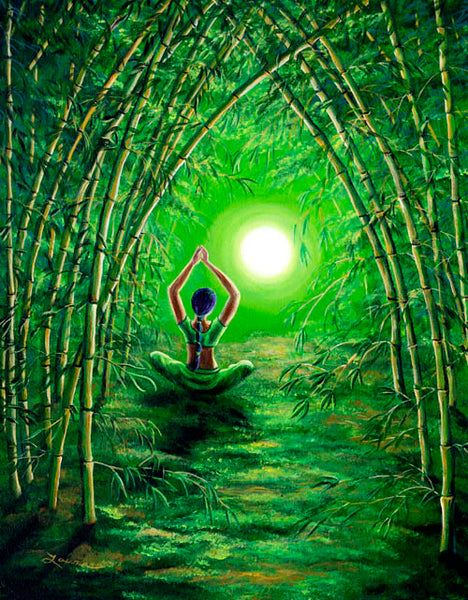 Green Tara in the Hall of Bamboo Original Painting