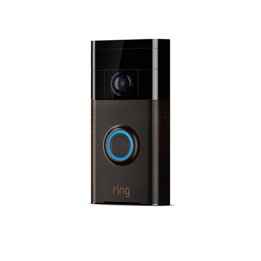 Ring Video Doorbell 1 Bronze 8VR1S5-VEN0 and Floodlight Black 8SF1P7-BEN0 Bundle
