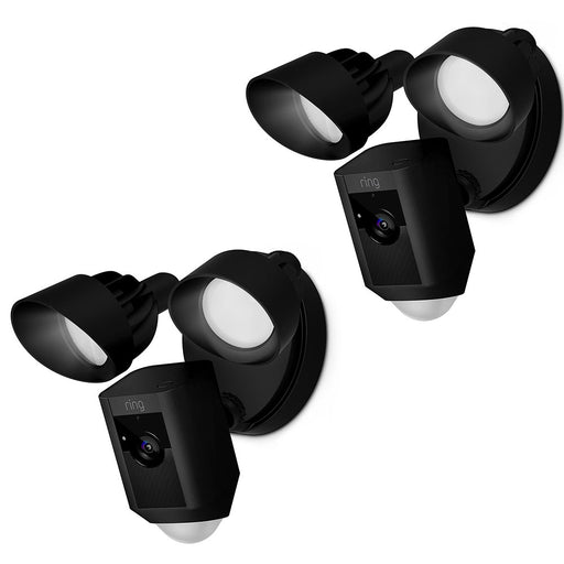 2 Pack - Ring Floodlight Camera Security Camera Indoor/Outdoor 8SF1P7-BEN0 Black