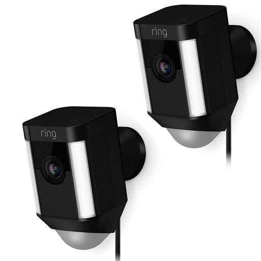 2 Pack Ring Spotlight Cam Wired Security Camera 8SH1P7-BEN0 - Black - Brand New