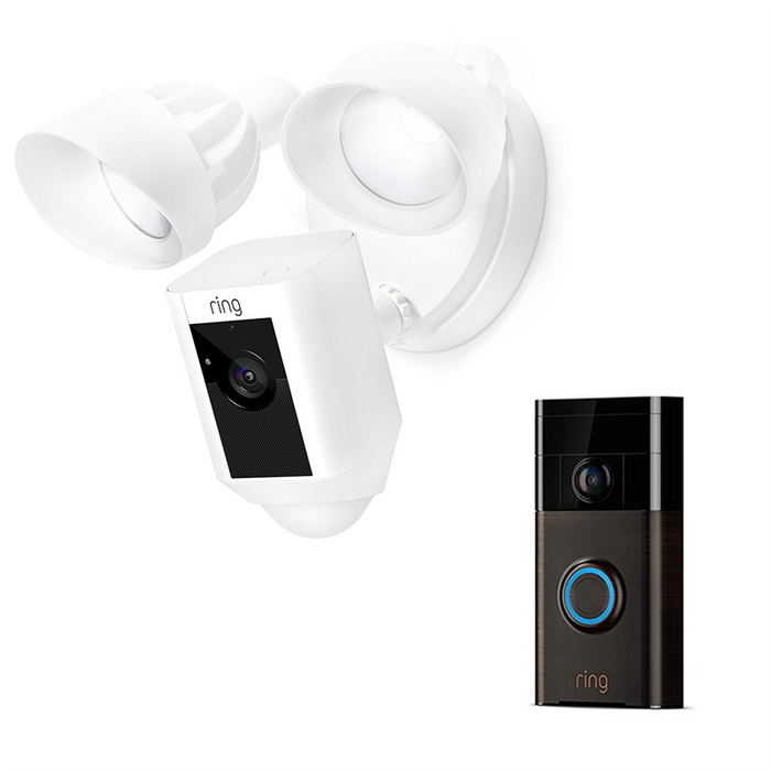 Ring Video Doorbell 1 Bronze 8VR1S5-VEN0 and Floodlight White 8SF1P7-WEN0 Bundle
