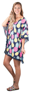 SIMPLY SOUTHERN BEACH COVER UP - YOUTH PINEAPPLE POMMED