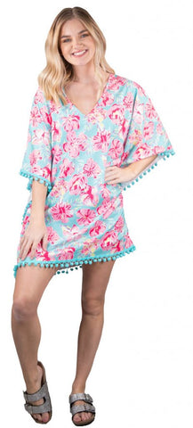 SIMPLY SOUTHERN BEACH COVER UP - YOUTH TROPIC POMMED