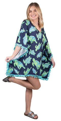 SIMPLY SOUTHERN BEACH COVER UP - YOUTH TURTLE POMMED