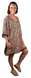 SIMPLY SOUTHERN BEACH COVER UP - POMMED LEOPARD