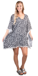 SIMPLY SOUTHERN BEACH COVER UP - POMMED SNOW LEOPARD