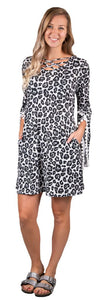 SIMPLY SOUTHERN CRISS CROSS POM BELL SLEEVE DRESS- SNOW LEOPARD