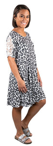 SIMPLY SOUTHERN LACE SLEEVE DRESS- SNOW LEOPARD