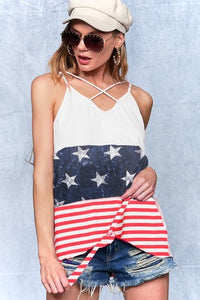 RED WHITE BLUE TANK WITH TIE FRONT