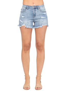 "JUDY BLUE ""BOO THANG"" CUT-OFF DESTROY SHORTS [1555PL]"