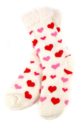 WHITE HEARTS SHERPA SOCKS