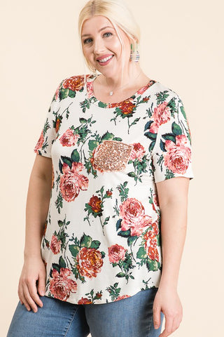 IVORY FLORAL TEE WITH SEQUIN POCKET
