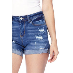 JUDY BLUE LIGHT WASH RAW HEM CUFF SHORTS [JB1550- LIGHT]