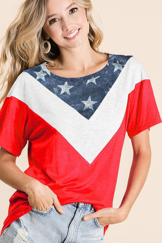 JERSEY KNIT RED WHITE BLUE STAR VNECK TEE