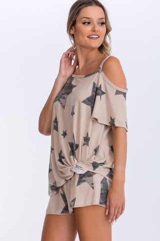 KHAKI CAMO STAR ASSYMETRICAL TOP