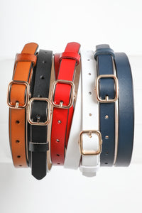 CLASSIC SKINNY LEATHER RED BELT