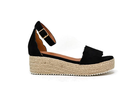 BLACK SCALLOPED ESPADRILLE WEDGE