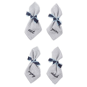MUDPIE- WORD NAPKIN 4PK SET WITH TIE