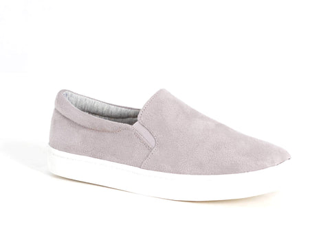 SODA- LIGHT GREY SUEDE SLIP ON SNEAKER