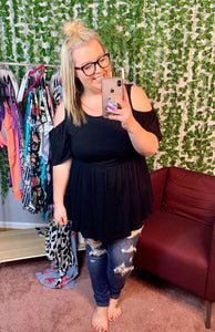 BLACK COLD SHOULDER BABYDOLL TOP (BE STAGED)