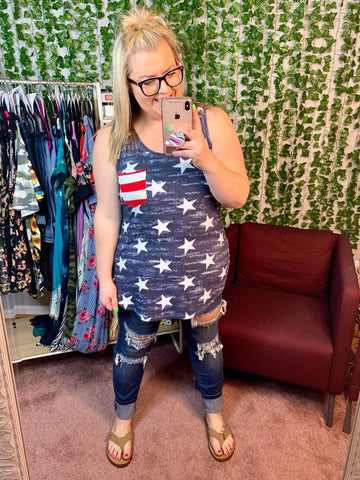 NAVY TANK WITH STARS & STRIPES ON BACK