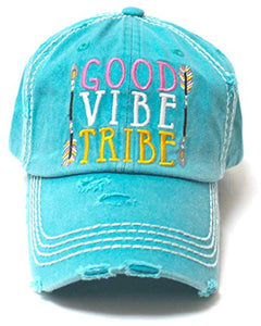 TURQUOISE GOOD VIBE TRIBE HAT