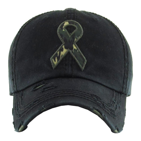 BLACK CAMO RIBBON HAT
