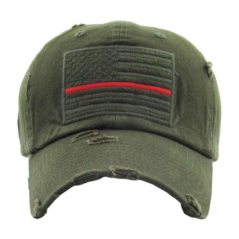 OLIVE THIN RED LINE AMERICAN FLAG HAT