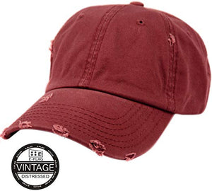 BURGUNDY VINTAGE DISTRESSED HAT