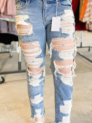 """HOLE-Y MOLY"" BOYFRIEND DESTROYED JEANS"