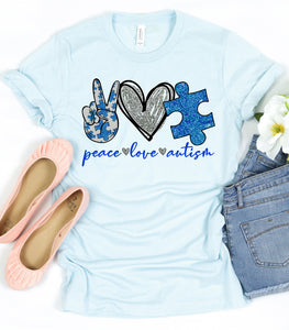 PEACE LOVE AUTISM GRAPHIC TEE