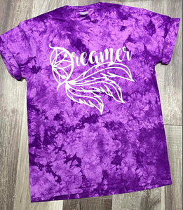 PURPLE DREAMER TIE DYE GRAPHIC TEE