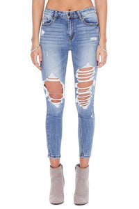 "LIGHT MAJOR DISTRESSED ""TRADER"" JEANS"