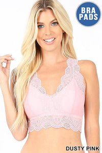 STRETCH LACE HOURGLASS BACK BRALETTE WITH PADS- DUSTY PINK