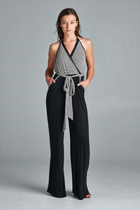BLACK & WHITE HALTER JUMPSUIT