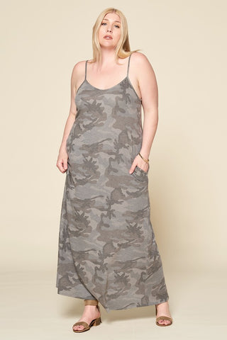 CAMO SPAGHETTI STRAP KNIT MAXI DRESS