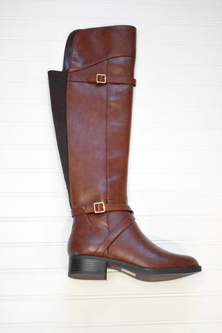 SODA- BROWN LEATHER KNEE HIGH RIDING BOOT