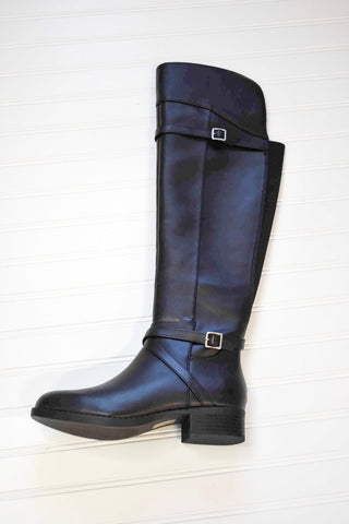 SODA- BLACK LEATHER KNEE HIGH RIDING BOOT